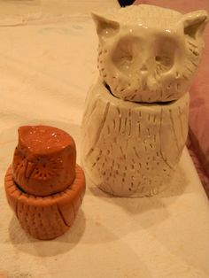 """When """"Art of the Ancient Americans"""" is the study, students love to create these owl containers.  We either just put on a clear glaze or finish them with shoe polish.  Shoe polish has lacquer which creates a burnished look."""