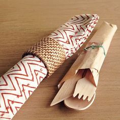 idea for wrapping bamboo disposable utencils in brown parchment paper with twine.... for picnics