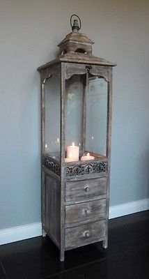 XXL Holz Laterne mit Schubladen - Antik-Look braun 124 cm - Landhaus Shabby Chic Fairy Lanterns, Wooden Lanterns, Lanterns Decor, Wooden Lamp, Candle Lanterns, Wooden Diy, Floor Candle Holders, Wooden Candle Holders, Lantern Candle Holders