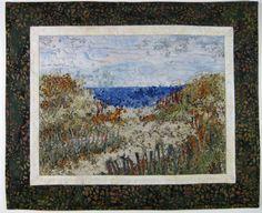 Original Quilted Fiber Art Trail to Beach Wall by SallyManke