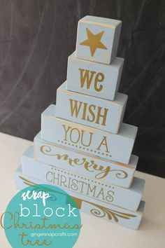 Christmas DIY: DIY Wood Block Chris DIY Wood Block Christmas Tree by Gingersnaps Crafts for the Creative Girls Soiree on TodaysCreativeLif. Christmas Blocks, Christmas Wood Crafts, Diy Christmas Tree, Christmas Signs, Christmas Projects, Holiday Crafts, Christmas Decorations, Diy Holiday Blocks, Summer Crafts