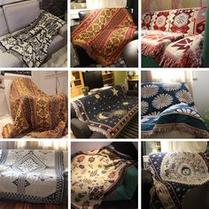- ICON2 Luxury Designer Fixures  Cotton #Knitted #Sofa #Blanket #Thread #Blanket #or #Beds #Soft #Bed #Plaid #Vintage #Home #Decor #Tapestry # #Kilim