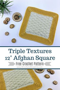 If you love texture and cables, you'll love the Cabled Blooms 12 inch afghan square. A stunning square when worked in one or more colors. Crochet Square Blanket, Crochet Squares Afghan, Crochet Square Patterns, Crochet Blocks, Crochet Blanket Patterns, Crochet Motif, Free Crochet, Crochet Granny, Afghan Patterns