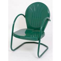 Metal Patio Chair Retro Tulip Dining Arm Outdoor Furniture Porch Deck Lawn  Green