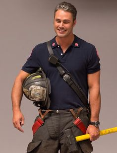 God, I love him.Taylor Kinney as Kelly Severide. Lady Gaga, Lancaster, Hot Firefighters, Firemen, Taylor Kinney Chicago Fire, Chicago Shows, Chicago Med, The Avengers, Men In Uniform