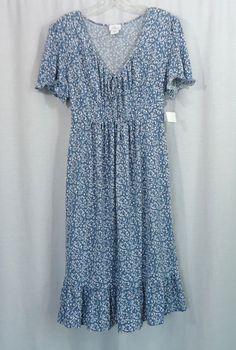 NEW Womens OH BABY! MOTHERHOOD Blue/White Floral Empire Waist Dress, Size Large #OhBabyMotherhood #EmpireWaist #Casual