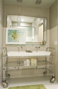 Industrial Metal Shelf Turned into Sink  What a great idea:  use your mobile shelves to 'support' your sink.  http://www.architecturendesign.net/17-useful-ideas-for-small-bathrooms/