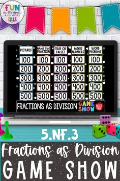 No prep, self checking math reivew game shows are so much fun! This digital game show reviews fractions as division, 5.NF.3. This test prep game is interactive, fun and engaging! Students will beg to play this game! Fun Math Games, Vocabulary Games, Classroom Games, Cause And Effect Games, Context Clues Games, Math Websites, Fraction Games, Nonfiction Text Features, Fact And Opinion