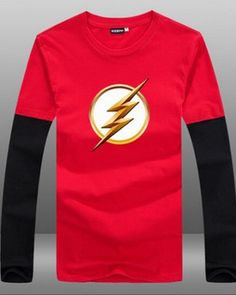 season 2 The flash long sleeve t shirt false two pieces of cotton tee shirt