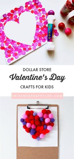 DIY Dollar Store Valentine's Day Crafts is part of Kids Crafts Valentines Day - A collection of dollar store heart crafts perfect for Valentine's Day Create DIY heart necklaces and heart paintings with your kids Toddler Valentine Crafts, Kinder Valentines, Valentines Day Activities, Baby Crafts, Preschool Crafts, Valentines Day Crafts For Preschoolers, Valentines Day Crafts For School Party, Valentines Crafts For Kindergarten, Holiday Activities