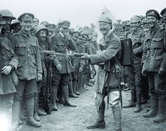 Royal Dublin Fusiliers celebrating their victory at Wijtschate, June 1917. (Imperial War Museum).