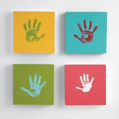 Handprint Canvas Kits from RedEnvelope: Commission a toddler masterpiece or celebrate art night with the whole family. Four colorful canvases await handprints, footprints and parent-child collaborations - this would be super simple as a DIY project