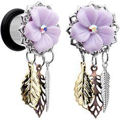 00 Gauge Aurora Gem Purple Petal Flower Leaf Feather Dangle Plug Set | Body…