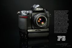 The Nikon film camera, shown with the Multi-power high speed Nikon battery pack and the Nikon lens. These days we've been conditioned to believe we need a new (digital) camera every few years Nikon F6, Nikon 50mm, Nikon Cameras, Kodak Camera, Film Camera, Camera Lens, Old Scool, Antique Cameras, Camera Equipment