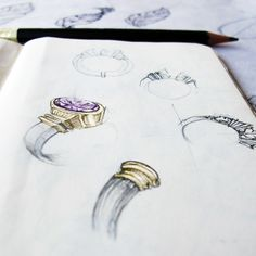 Moleskin sketch for different features to hold a stone in a ring - Damian Stone