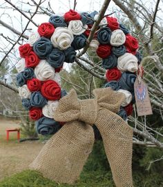 Red White Blue Roses Burlap Wreath  with by AmericasFrontPorch, $42.00