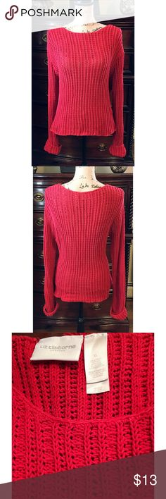 Liz Claiborne Red Sweater size XL Liz Claiborne Red Loose knit Sweater that has elasticity. Its a cowl neck and the sleeves are very long. Size XL and is in excellent condition. Liz Claiborne Sweaters Crew & Scoop Necks