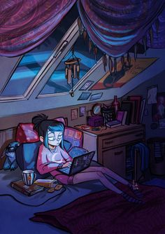 Working late at night illustration Art Tumblr, Illustration Noel, Fanarts Anime, Aesthetic Art, Cute Art, Art Inspo, Art Reference, Amazing Art, Character Inspiration