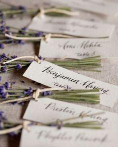 Namenskarten Hochzeit Lavendel Vintage Natur Frankreich