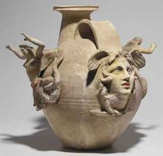 Canosan pottery askos, Apulia, ca. with a mold-made head of Medusa applied below the spout and handle end, and a figure of a Tritoness on either side. Ancient Aliens, Ancient History, Art History, Ceramic Pottery, Ceramic Art, Greek Pottery, Roman Art, Pottery Sculpture, Ancient Artifacts