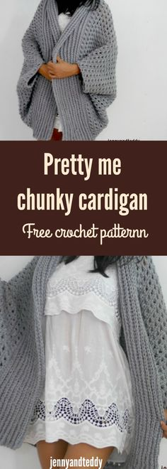 Pretty me oversize chunky blanket crochet cardigan free pattern by jennyandteddy. Made from one rectangle with chunky yarn.