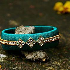 Raksha Bandhan - Rakhi or Raksha Bandhan is a holy festival of India. Raksha Bandhan is a festival of faith and love between brother and sister. Silk Thread Earrings Designs, Silk Thread Bangles Design, Silk Thread Necklace, Silk Bangles, Bridal Bangles, Thread Jewellery, Fabric Jewelry, Diy Fashion, Fashion Design