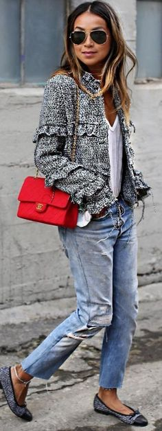 #sincerelyjules #spring #summer #besties   Tweed Jacket + Denim + Pop Of Red Source
