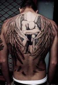 back angel wing tattoo, Angel