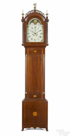 New England Federal mahogany tall case clock, ca. 1810, with an eight-day movement and paterae inlaid Roxbury case, 93 1/2'' h.