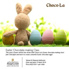 This year's #Easter will be lots of fun with Choco-La's Easter chocolate-making class! Join Chef Jejen and learn to create colourful Easter chocolate eggs! #AbuDhabi