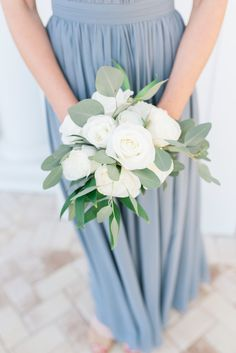 Greenery and white bridesmaid bouquet silver dollar eucalyptus Dusty Blue wedding. Greenery and white bridesmaid bouquet silver dollar eucalyptus Dusty Blue wedding. Wedding Flower Guide, White Wedding Flowers, Floral Wedding, Wedding Colors, White Flowers Bouquet, Flower Bouquets, Wedding Ideas, Wedding White, Wedding Bridesmaid Bouquets