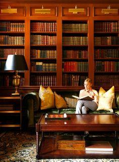 The lounge at Washington, D.C.'s Jefferson Hotel is a bibliophile's paradise.