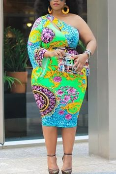 Multi Fashion Sexy Plus Size Oblique Collar Long Sleeve Single Sleeve Print Printed Dress Yellow Fashion, Red Fashion, African Fashion, Style Fashion, White Fashion, Fashion Ideas, Dress Plus Size, Plus Size Outfits, Black Long Sleeve Dress