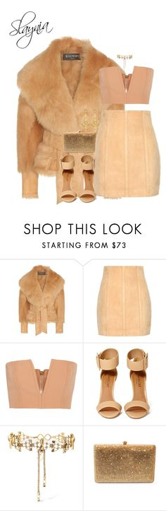 """""""Grizzly"""" by slaynia ❤ liked on Polyvore featuring Balmain, Shoe Cult, Erickson Beamon, Dolli and Jose & Maria Barrera"""