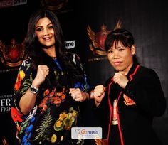 Bollywood Actress Shilpa Shetty with Olympian Boxer Mary Kom | Press meet of 'Super Fight League (SFL)'