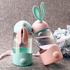 BUNNY WATER BOTTLE Cute Glass Water Bottle, 300ml