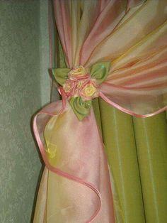 Curtain Holder, Curtain Ties, Drapes Curtains, Shibori, Kanzashi Tutorial, Wonderful Flowers, Curtain Designs, Ribbon Work, Window Coverings