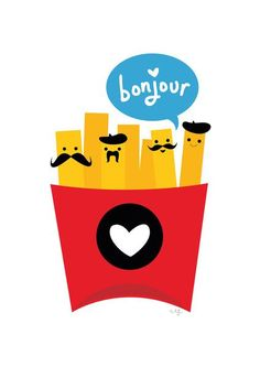 French Fries Art Print in Kitchen or by kid's play kitchen: