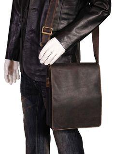 79fb593c1 Mens Real Leather Cross body Messenger Tablet Shoulder Bag A410 Black Brown  (Brown)
