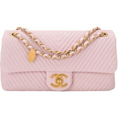 Pre-Owned Chanel Pink Chevron Lambskin Medium Flap Bag featuring polyvore fashion bags handbags pink quilted handbags multi colored handbags pre owned handbags flap bag chevron handbag