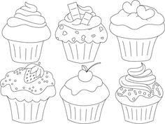 Zusammenstellung_Cupcakes Source by onebluerose Cupcake Coloring Pages, Colouring Pages, Coloring Books, Cupcake Kunst, Cupcake Art, Cute Cupcake Drawing, Pintura Cupcake, Decoration Creche, Cupcake Painting