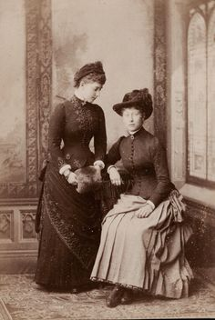 Princess Charlotte of Prussia (left) with cousin, Princess Victoria of Hesse. 1880s