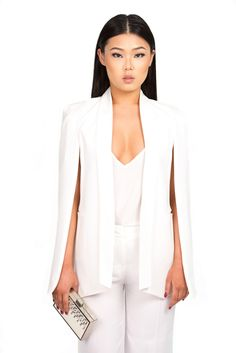 Mariah cape blazer in Ivory