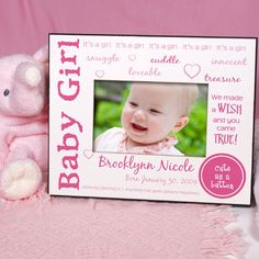 We Made A Wish Personalized New Baby Girl Printed Picture Frames. Celebrate the arrival of your Wish from above with our Personalized Baby Printed Frame. Your newborn is showcased in this adorable Custom Printed New Baby Picture Frame for the entire family to enjoy. Be sure to send this lovely Personalized Baby Frame to the new Grandparents, Aunts & Uncles. They will love this Personalized Picture Frame.