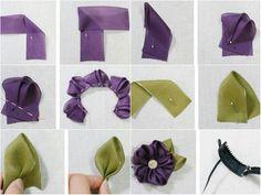 31.çiçeğim.Açık yeşil ve bordo rengi kalın şifonla yaptığım kolay çiçek...