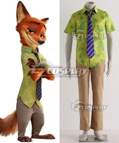 (affiliate link) Disney Zootopia Nicholas P.Wilde Fox Nick Cosplay Costume