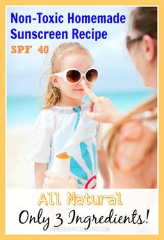 Homemade Sunscreen Recipe - 1/4 cup coconut oil, 20 drops Carrot Seed Oil (can get from Spark Naturals), & 8-10 drops Lavender EO.