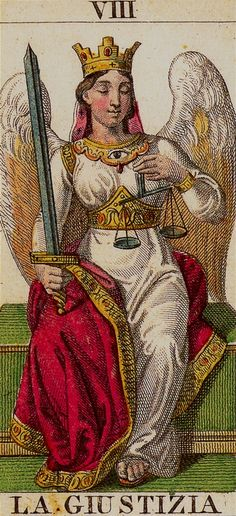 VIII Justice - Arcana Tarot. Notice the watchful eye on her neck, always present even when she blinks.