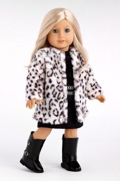 In this glamour outfit your doll for sure will be ready for holiday festivities. Not only she will be warm and stylish in this beautiful snow leopard faux fur coat but also she will have that little b