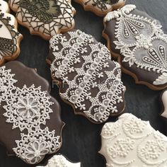 White-on-Brown lace cookies | Cookie Connection